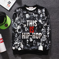 New 2015 European fall and winter Hip hop street clothing men hoodies and sweatshirts 3d printing individuality leisure