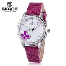 Skone moda violetta cuero de las mujeres relojes de marca de lujo del diamante reloj de cuarzo famoso señoras reloj mujer relogio del reloj feminino(China (Mainland))