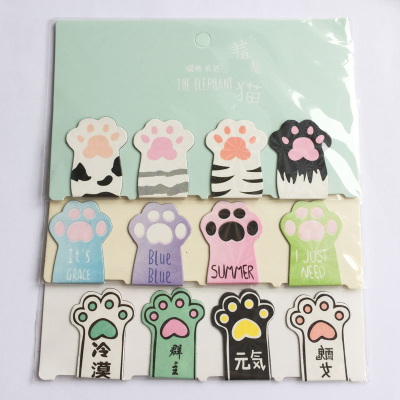 D36 4pcs /Set Cute Cat Paw Magnetic Bookmarks Books Marker Of Page Stationery School Office Supply Paper Clip