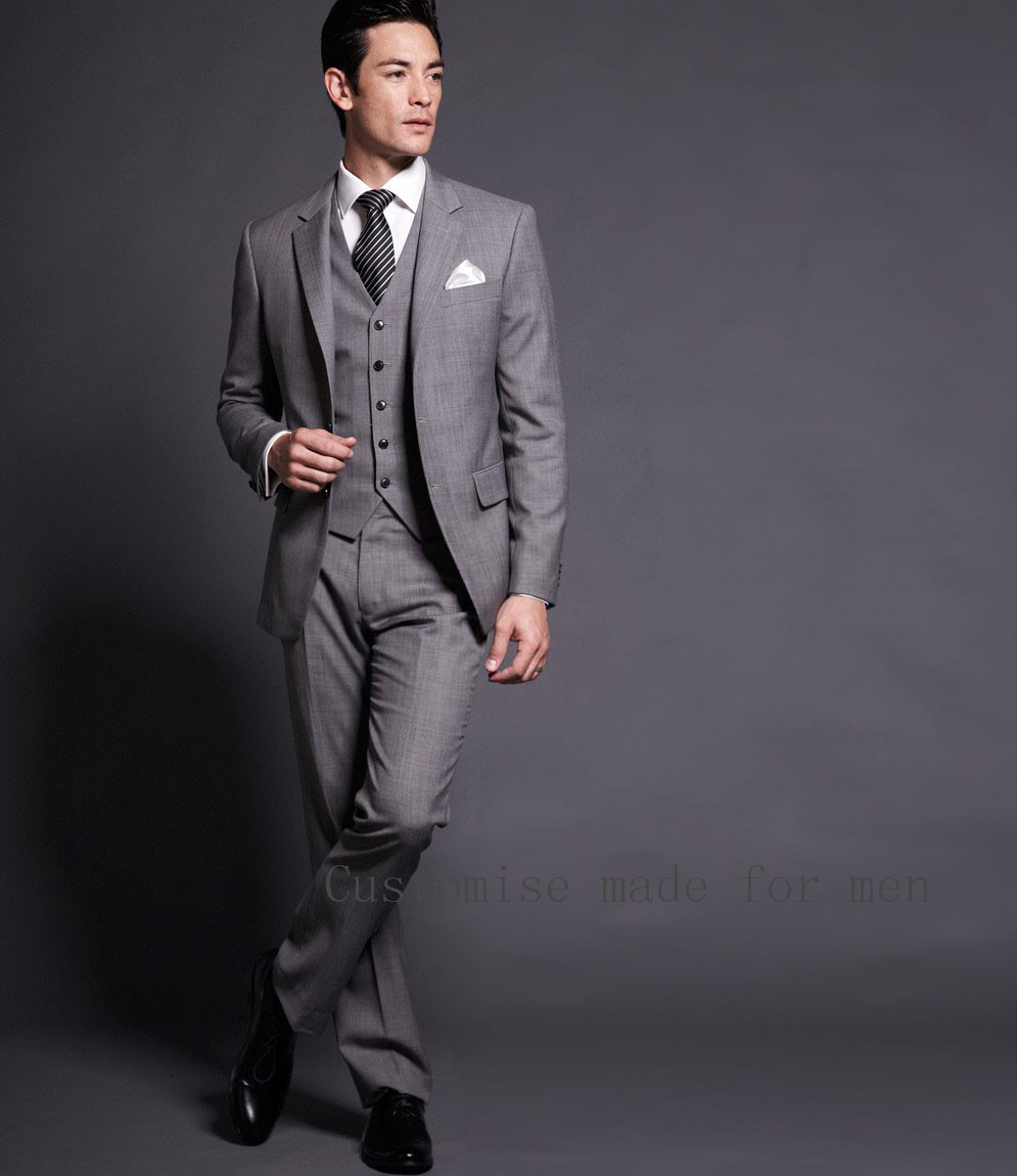 Groom Qedding Dress 2 Buttons Grey Groom Tuxedos Notch Collar ...