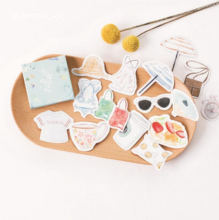 Girl Heart Colorful Clothing Summer Decorative Stationery Stickers Scrapbooking DIY Diary Album Stick Label fashion colorful flowers and riding girl pattern removeable wall stickers