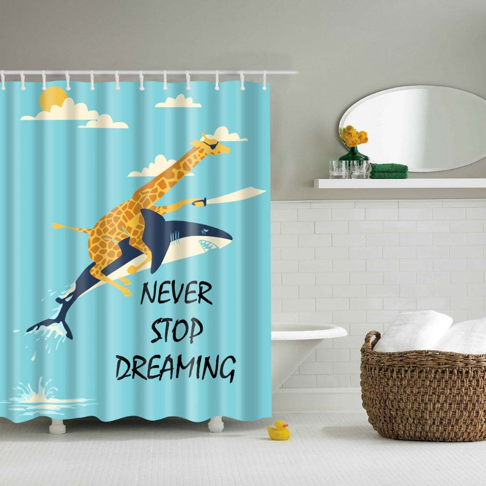 Never Stop Dream Giraffe Ride Dolphin Bathroom Curtains Polyester Hot Sale  Lovely 3D Shower Curtain