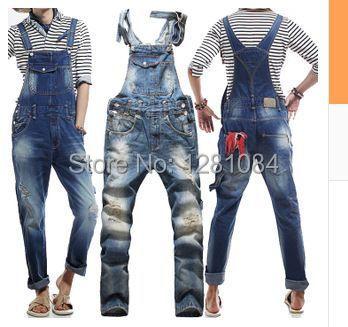 Men's Korean style slim Jumpsuits Hole suspenders jeans for men Mens denim bib pants Blue Denim Overalls Trouser For Man 033001 2016 new men s casual pocket blue denim overalls slim jumpsuits pants ripped jeans for man plus size 28 34