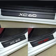 Для Volvo XC60 XC90 углерода Волокно винил Стикеры порога протектор приветствовать педаль скребок крышка планки Автомобиль Стайлинг 4 шт./компл.