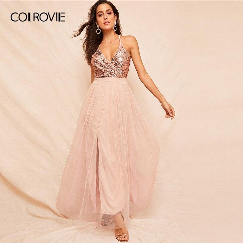 941191c1829 COLROVIE розовый лиф с блестками с перекрещенными бретелями и открытой  спиной Сетчатое платье Для женщин 2019