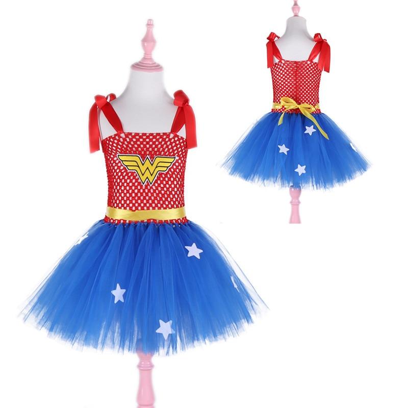 Dívky Wonder-woman Tutu šaty Halloween Vánoční děti Dívka Party Šaty Superhero Baby Cosplay Kostým dívka šaty léto