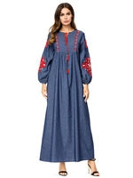 18031 maxi dress women full sleeve embroidery dark blue 2018 autumn indonesia clothing 4XL kaftans para as mulheres