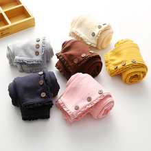 2017 Korean Spring Summer Baby Girls Kids Pure Color 3 Buttons Legging Children's Clothing Lace Cotton Trousers Dance Pants