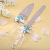 Personalized Wedding Cake Knife Set Acrylic Handle With Flower Blue Red Color Wedding Party Supplies Customized