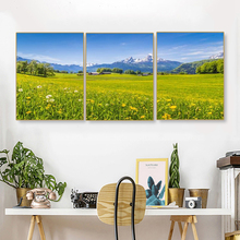 Laeacco Canvas Painting Calligraphy 3 Panel  Sky Wall Art Spring Garden Posters and Prints Nordic Living Room Home Decor