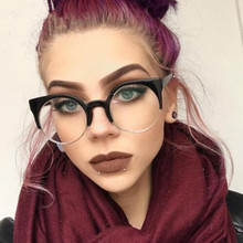 REALSTAR 2018 Fashion Half Round Eyeglasses Frames Women Optical Glasses Cat Eye Frame Myopia Metal Vintage Glasses Oculos S312