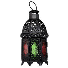 New Arrival Hollow Moroccan Style Candle Lantern Multicolor Glass High Quality Iron Made Durable Candleholder Home Decoration(China)