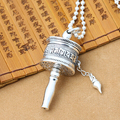 Real 925 Silver Tibetan OM Mantra Prayer Wheel Pendant vintage sterling silver Tibetan Wheel pendant Buddhist prayer wheel