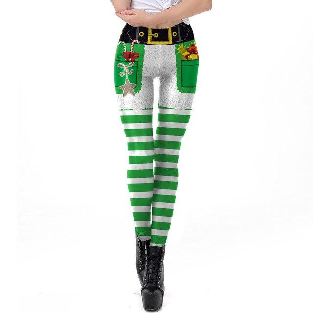 2018 Christmas  Green Striped Printed Slim Fitness Leggings Women LegginsHigh Waist Push Up Legging Autumn Winter Leggins Mujer