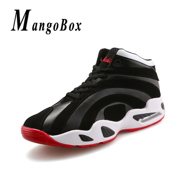 Mens Women Basketball Shoes High Top Basketball Shoes Air Cushion Design Basketball  Sneakers Couples Rubber Sole Training Shoes fe816ef92d