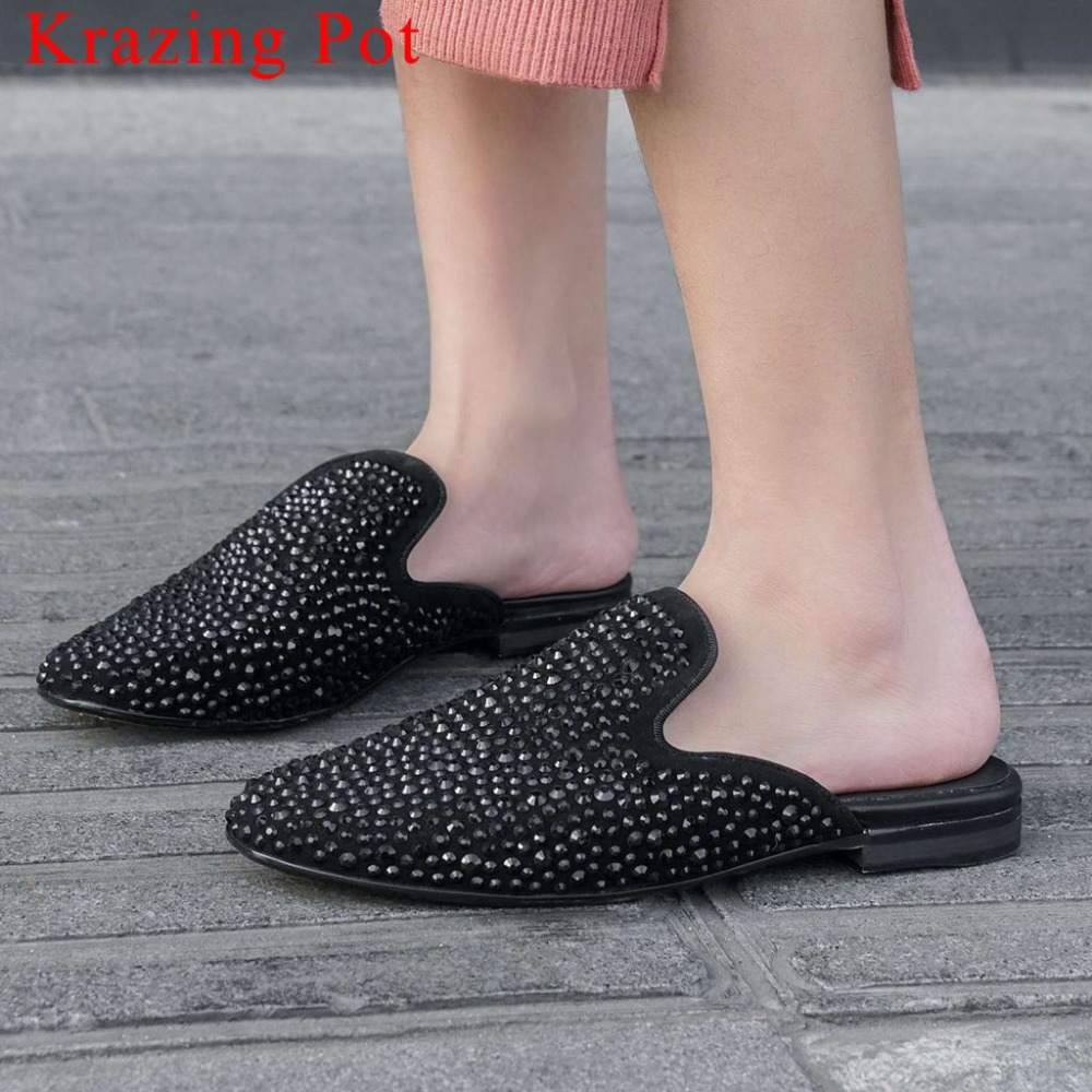 New fashion metal rivets studded slip on mules comfortable movie stars genuine leather low heels round toe leisure pumps L02