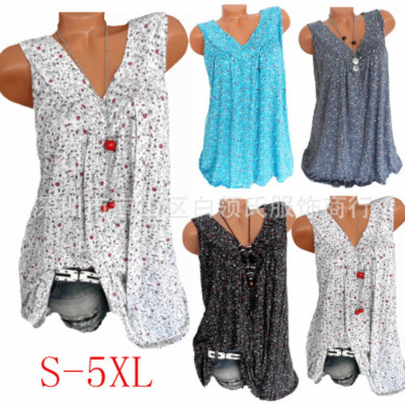 Big Size Summer Floral Print Shirts Womens Tops Blouses Sleeveless V neck Loose Casual Shirt Ladies Plus Size Blusas Mujer S 5XL|Blouses & Shirts|   - AliExpress