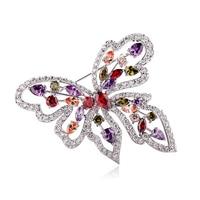 2014 White Gold Plated Butterfly Brooch Pins Swiss Cz Rhinestone Brooch Bridal Wedding Dress Jewelry Accessories