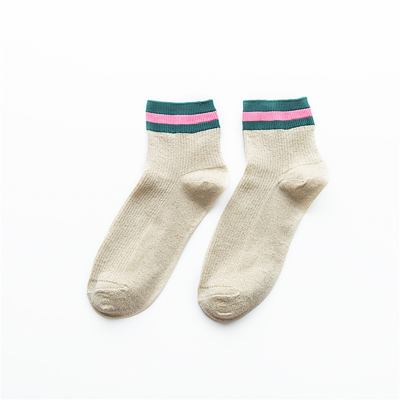 SP CITY Classical 5 Pairs Set Women Striped Patterned Shiny Short Socks Hot Sell Cotton Fashion Casual Socks Korean College Sox in Sock Slippers from Underwear Sleepwears