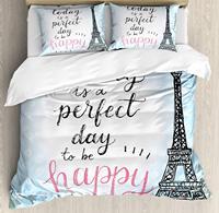 Париж декор постельное белье традиционный знаменитый Парижский элементы Croissan Кофе Эйфелева башня иллюстрации из 4 предметов Постельное бе