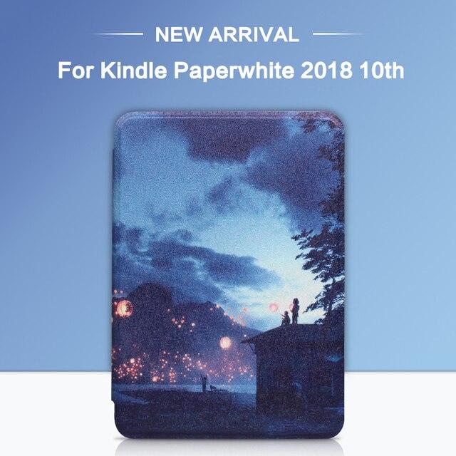 Funda inteligente magnética para Amazon nuevo Kindle 2018 de 10 generación funda para nuevo Kindle Paperwhite 4 impresión plegable Folio tableta caso