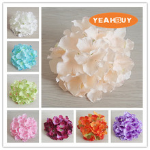 100pcs 20CM 20Colors Large Artificial Hydrangea Decorative Silk Flower Head Wedding Wall Arch DIY  Home Decoration accessories 100pcs lot 3 20colors diy polyester fluffy ballerina chiffon flower with pearl button in centre handmade accessories