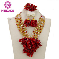 Free Shipping 2015 New Nigerian Wedding African Beads Jewelry Set Red Gold Indian Bridal Jewelry Set