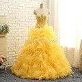 2016 Moda Princesa Contas de Cristal Amarelo Vestidos Quinceanera Doce 16 Vestido vestidos de 15 años Vestidos de Baile Vestidos de Baile Real