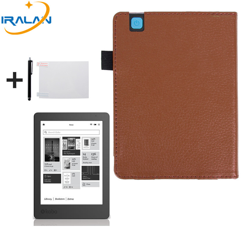 2018 hot new for KOBO Aura Edition 2 6 inch eReader Ebook folio PU leather Case Cover protective Christmas gift+stylus pen+film
