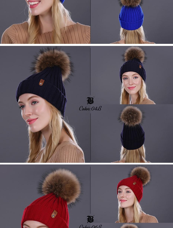 [FLB] Wholesale Real Mink Fur Pom Poms Knitted Hat Ball Beanies Winter Hat For Women Girl 'S Wool Hat Cotton Skullies Female Cap 33