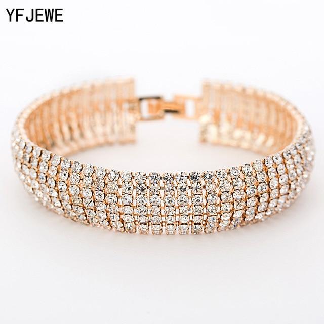 Luxury Crystal Bracelets For Women Gold and Silver Plated Link Bracelet  Bangle Fashion Full Rhinestone Jewelry c7431c5153