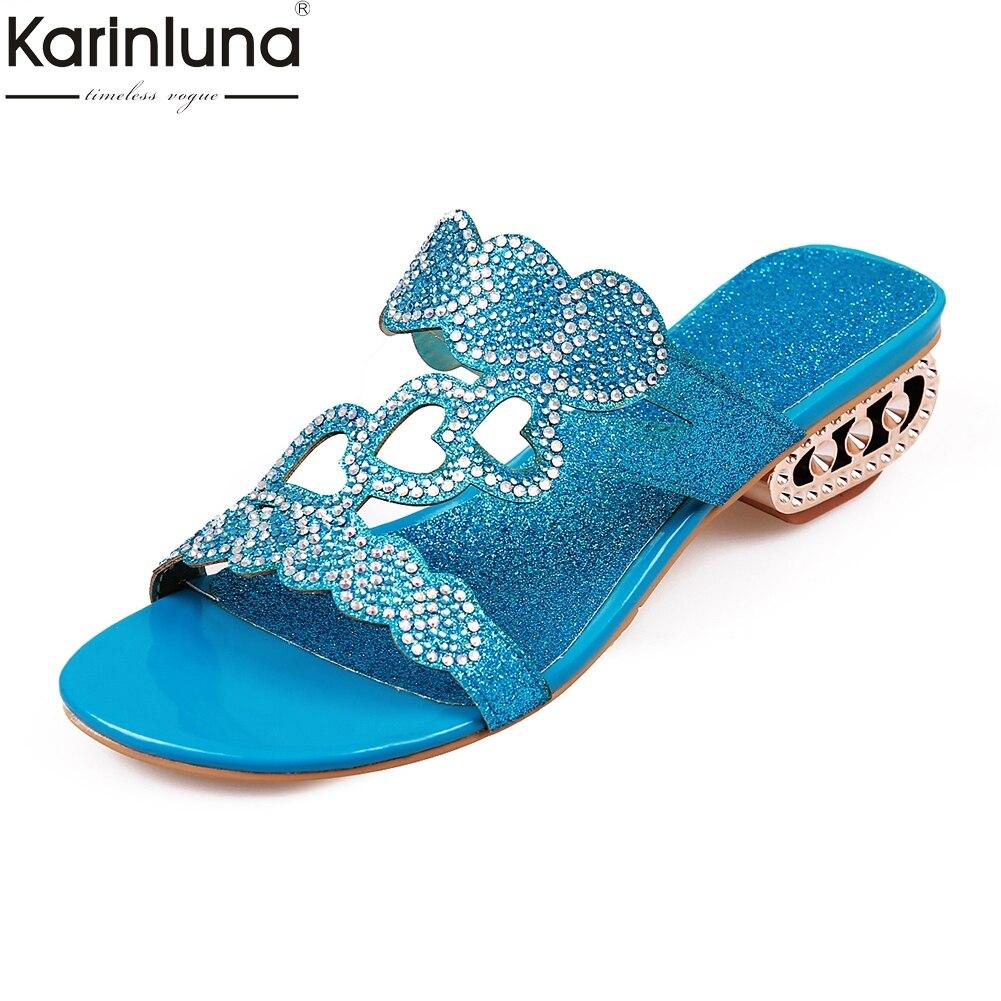 Karinluna 2018 Fashion Plus Size 33-43 Crystals Slip On Summer Slippers Woman Trendy Fretwork Heels womens Shoes Woman Slides