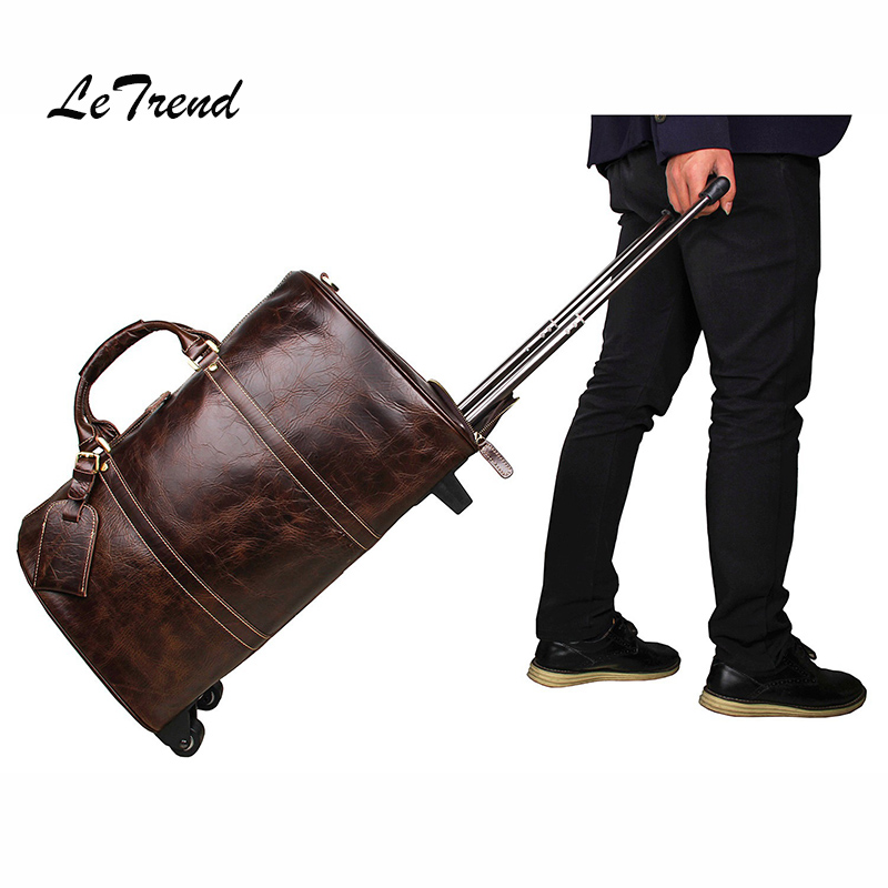 Letrend Brown High-grade Genuine leather Travel Bag High-capacity Men Luxury Rolling Luggage Trolley Cabin Suitcase Wheels spakct skeleton style bicycle riding gloves black green size xl 2 pcs