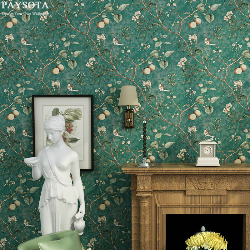 PAYSOTA Fashion Pastoral Apple Tree Flowers And Birds Non-woven Wallpaper Retro Sweet Bedroom Living Room Background Wall Paper beibehang papel de parede retro classic apple tree bird wallpaper bedroom living room background non woven pastoral wall paper