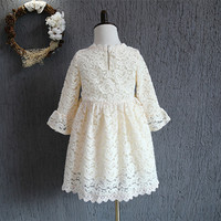 2016 Fashion Autumn Winter Girls Dress Children Long Sleeve Knee Length Dresses Princess Tulle Party Dress