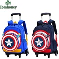 Children Rolling School Backpacks Captain America Boys Girls Trolley School Bags 3D Cartoon Kids Backpack on Wheels Suitcase