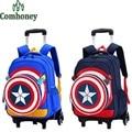 Children Rolling School Backpacks Captain America Boys Girls Trolley School Bags 3D Cartoon Kids Backpack on Wheels Suitcase