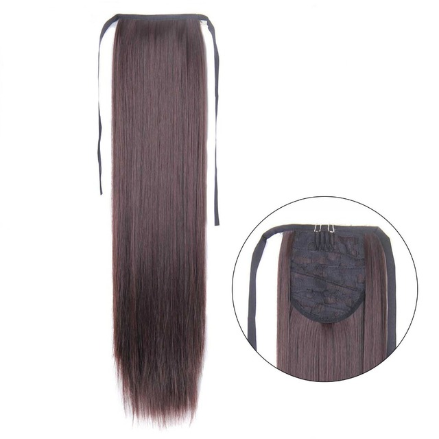 60 cm de Clip largo recto en la cola de pelo falso de cola de caballo con horquillas de pelo sintético de cola de caballo extensiones de cabello