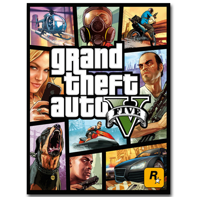 Grand Theft Auto V Art Шелковый тканевой плакат с принтом 13x18 32x43 дюймов Горячая игра GTA 5 картина для настенное уркашение для гостинной 009