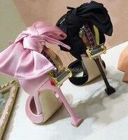 Pink Black Suede Silk Crystal Women Round Toe Ankle Wrap Sandals Diamond Fashion Bridal Shoes Bowtie