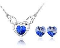 Hart Ketting Oorbellen Set Voor Vriendin Blue Oostenrijkse Crystal Vrouwen Merk Sieraden Accessoires Bruid Bruidsmeisje Geschenken