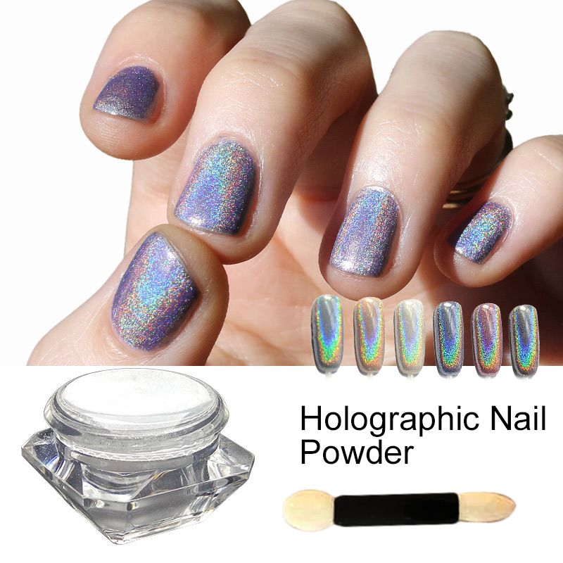 Saviland 1 Box Holographic Laser Sliver Color Glitter Powder For Uv Nail Gel Polish Shinny Rainbow Holo Dust Chrome Pigments In From Beauty