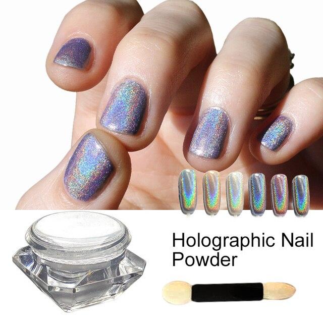 Saviland 1 Box Holographic Laser Sliver Color Glitter Powder For Uv Nail Gel Polish Shinny Rainbow