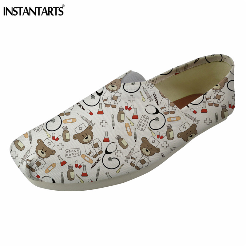 INSTANTARTS Summer Women Loafer Shoes Pediatrics Bear Print Canvas Flat Shoes Girls Casual Slip On Slacker Shoes Female Zapatos|Women's Flats| |  - title=