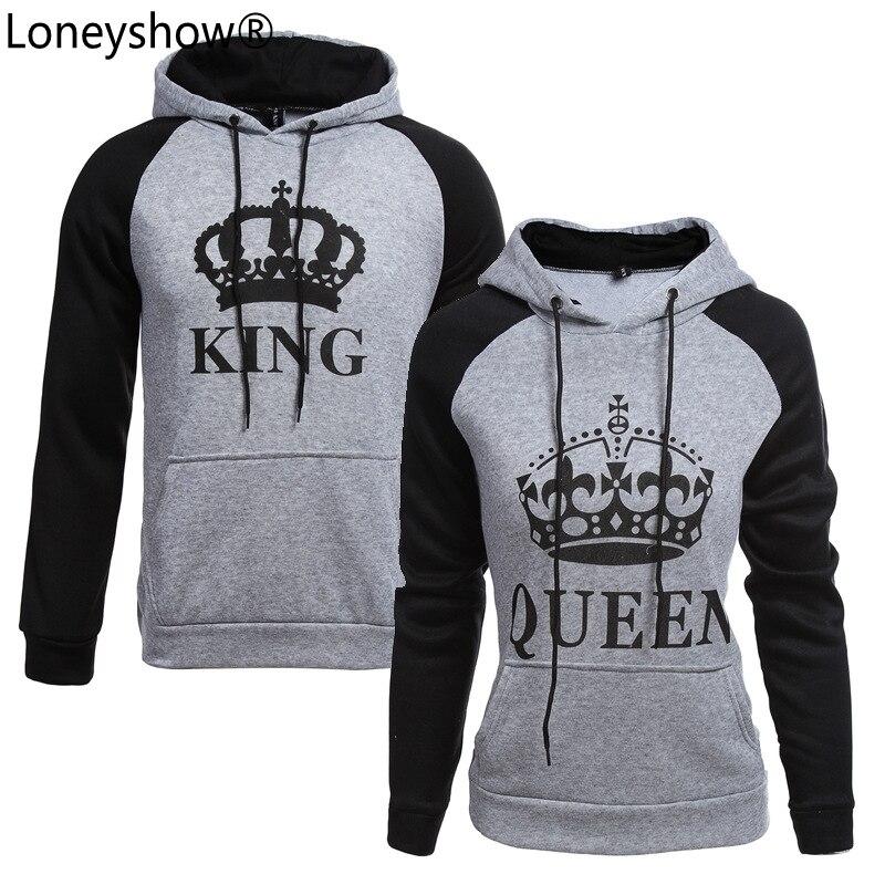 2017 KING Queen Crown Print Unisex Men Women Autumn Hoodies Slim Sweatshirt for Couple Lovers Winter Patchwork Hooded Pullovers