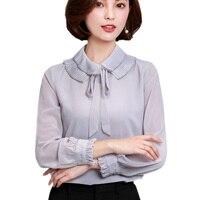 Blusas Plus Size XXXL Autumn Formal Slim Bandage Ruffled Collar Chiffon Shirt Female Long Sleeve Fold