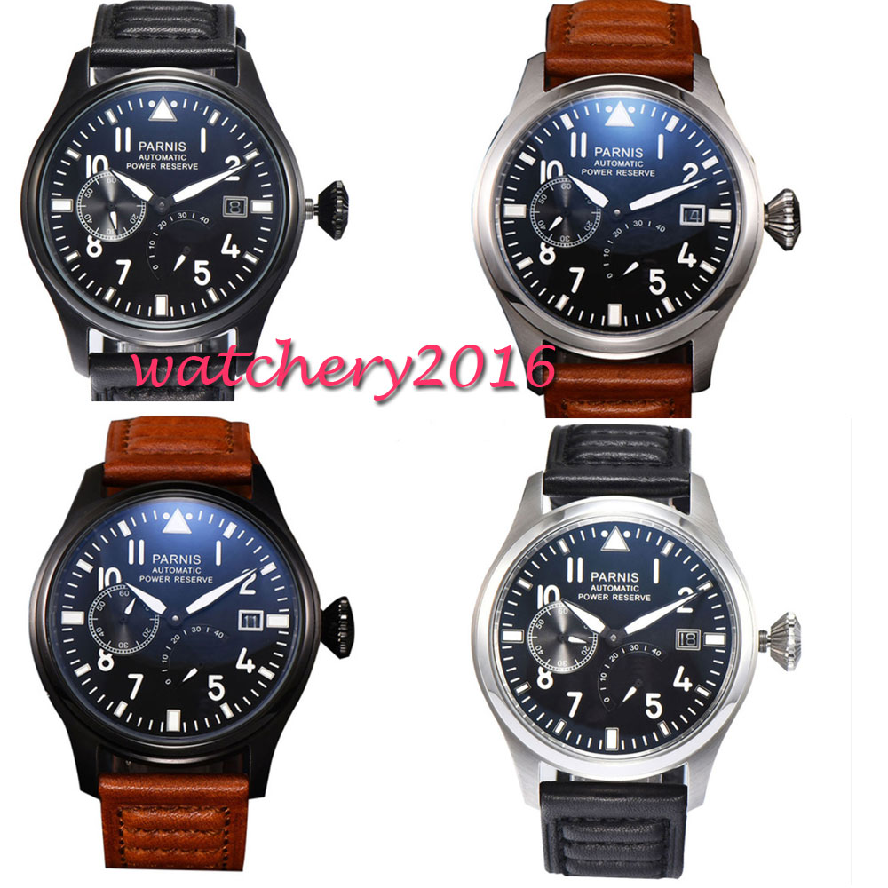 47mm Parnis Black Dial Leather Valentines gifts Power Reserve Romantic Sweet SS Case Automatic Movement mens Watch47mm Parnis Black Dial Leather Valentines gifts Power Reserve Romantic Sweet SS Case Automatic Movement mens Watch