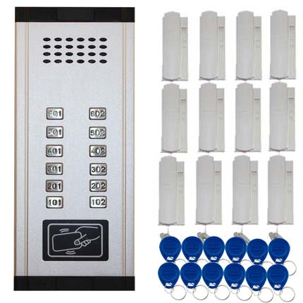 SMTVDP New Arrival Audio Door Phone Intercom System 12-apartments Audio Doorbell,New Design Indoor Unit ID Card Unlock Function