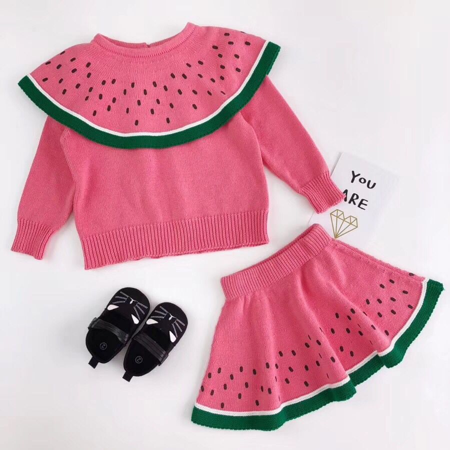 Novelty Toddler Kids Baby Girls Cute Long Sleeve Watermelon Knitted Tops Sweater