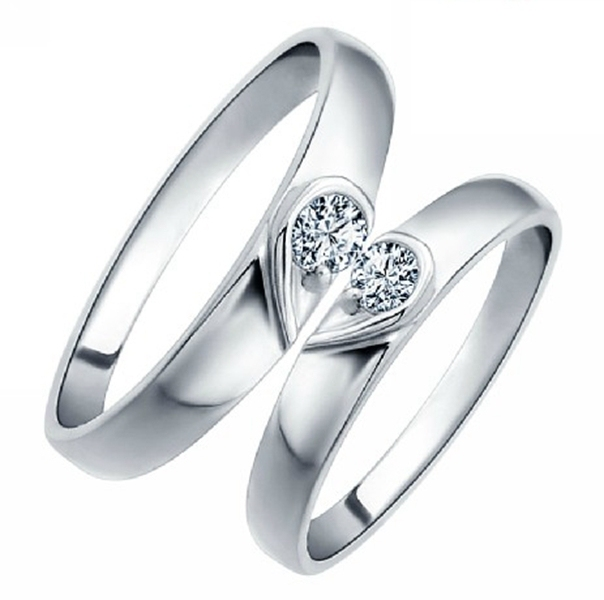 New Wedding Rings For Women Men Korean Style Cz Diamond Heart Shape Engagement Ring